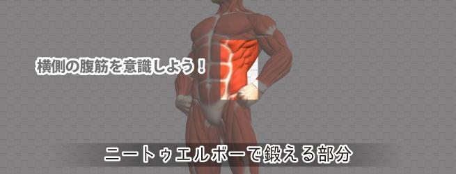 ニートゥエルボーで鍛える筋肉は横側の腹筋