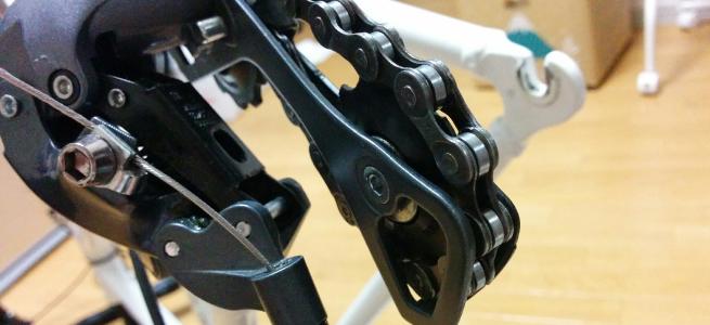 リアディレーラーの歯車部分も綺麗に掃除できている